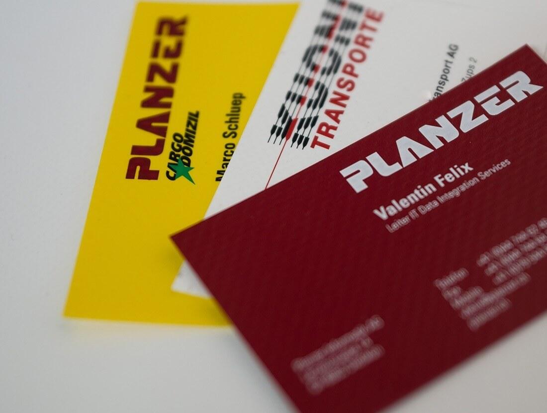 Visitenkarte Blache Planzer Kuoni Cargo Domizill Siebdruck